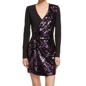 Parker Purple/Black Sequin Combo Becca Dress 0 NWT